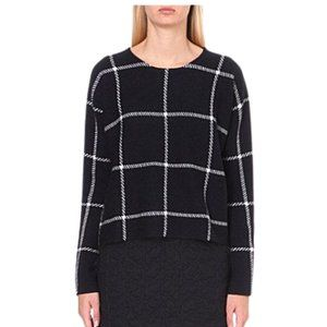 Maje Mademoise Window Pane Wool Blend Sweater Blue